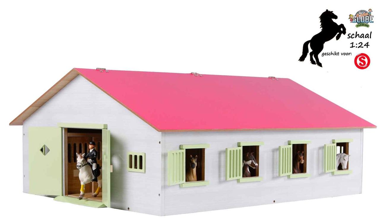 Welp Kids Globe Paardenstal met 7 boxen voor Schleich paarden (schaal 1:24) LA-69