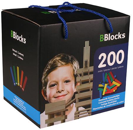 BBlocks 200 stuks gekleurde plankjes in kartonnen doos