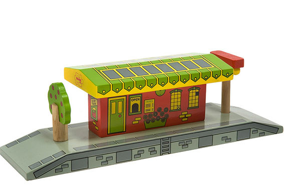 Houten trein uitbereidingsset dorpsstation