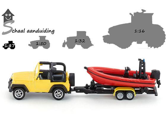Jeep met speedboot (schaal 1:87)