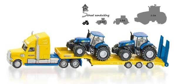 Dieplader met New Holland tractors (schaal 1:87)