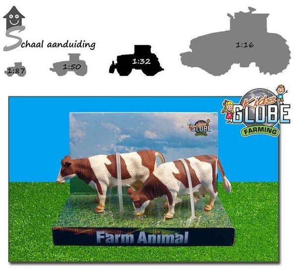 roodbonte koeien staand 2 stuks
