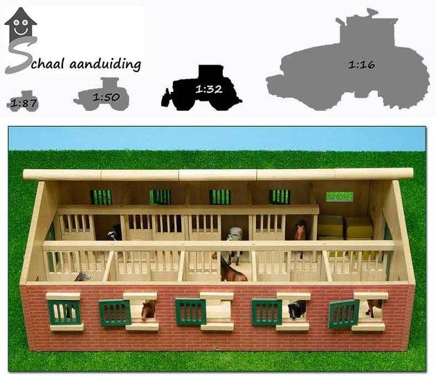Kinder paardenstal met 9 boxen (schaal 1:32)