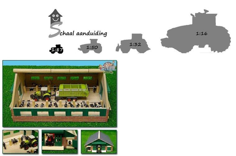 Kleine speelgoed ligboxenstal schaal 1:87