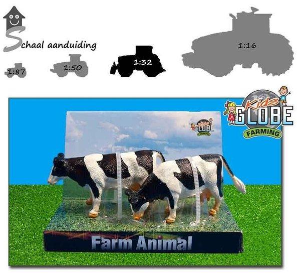 2 zwartbonte koeien staand