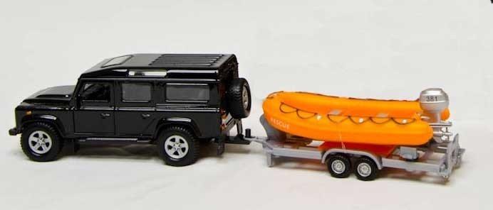 LandRover met reddingsboot speelgoed