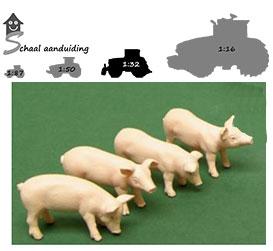 set van 4 varkens (schaal 1:32) OP=OP