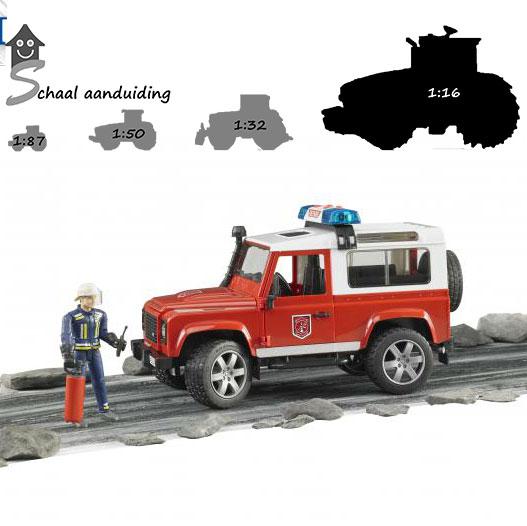 Bruder Brandweer Land Rover Defender met brandweerman en toebehoren (schaal 1:16)