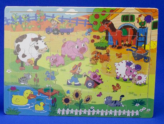 Houten puzzel met boerderijmotief