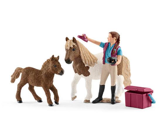 Schleich Shetland pony's met verzorgster