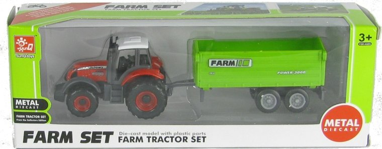 Farm Set rode tractor met silagewagen (schaal 1:87)