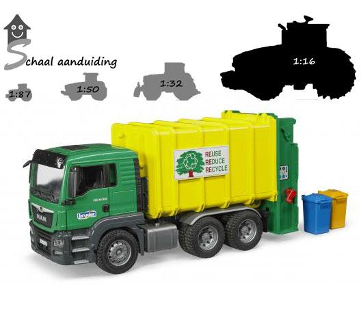 MAN TGS vuilniswagen met achterlader (schaal 1:16)