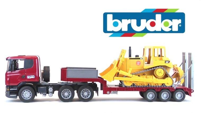 Bruder Scania vrachtwagen met dieplader en CAT bulldozer (schaal 1:16)
