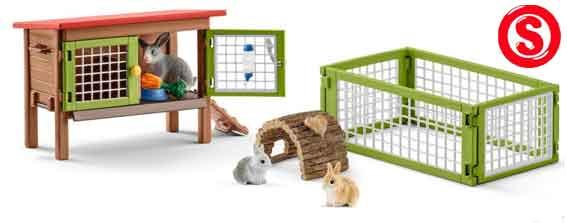 Schleich konijnenhok met ren (schaal 1:24)