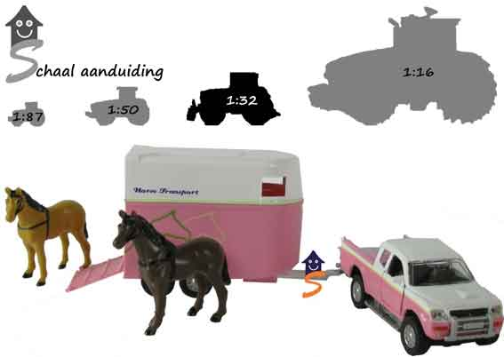 Kids Globe Horses pickup met trailer