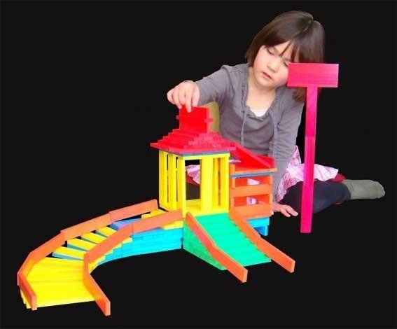 BBlocks 100 stuks gekleurde plankjes in kartonnen doos
