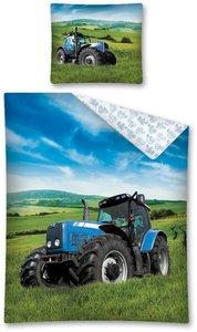 dekbedovertrek blauwe tractor