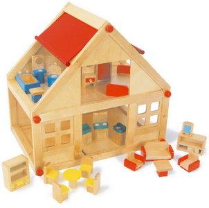 Houten poppenhuis inclusief meubilair - Exotisch onder wastafel houten meubilair ...