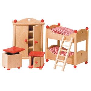 Houten poppenhuis kinderkamer meubilair - Exotisch onder wastafel houten meubilair ...