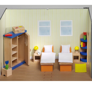 Goki poppenhuis slaapkamer