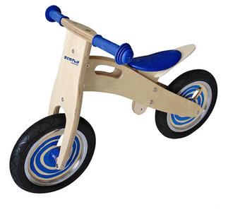 houten loopfiets blauw zadel
