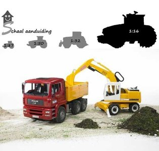 MAN vrachtwagen en Liebherr graafmachine