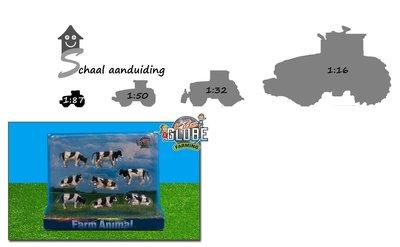 8 zwart bonte koeien staand en liggend (schaal 1:87)