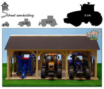 houten speelgoed tractor loods