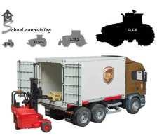 Bruder Scania R-serie UPS vrachtwagen met kooiaap