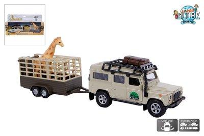 Kids Globe Landrover Defender met giraffe trailer
